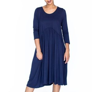 Muse Midi Dress- Navy Blue